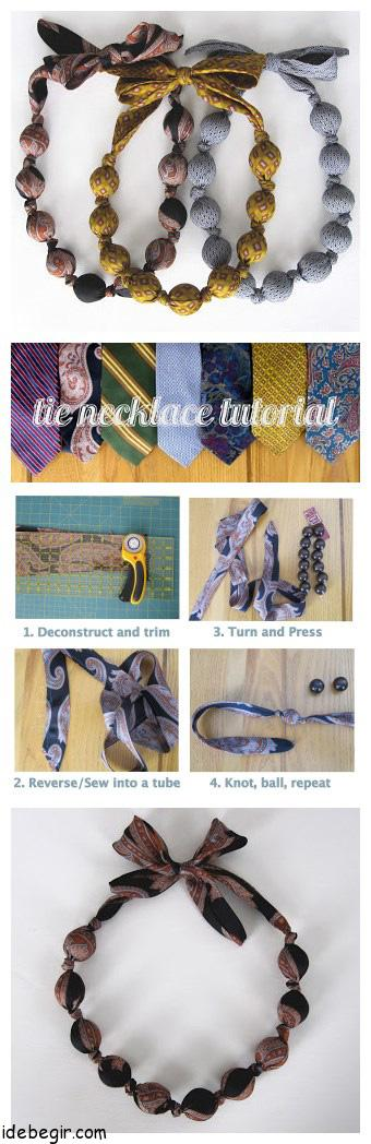 ساخت گردنبند زیبا با کراوات (1)