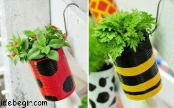 ساخت گلدان از قوطی های بلا استفاده (2)