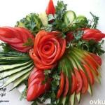 تزئین خیار و گوجه - تزئین سالاد