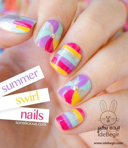 طراحی تابستانه روی ناخن